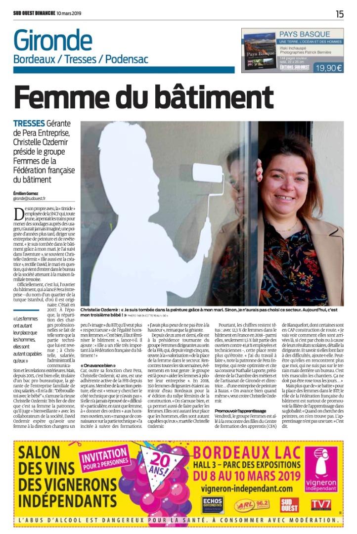 Article de Sud-Ouest sur Christelle Ozdemir, gérante de Pera Entreprise.